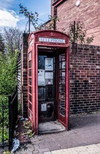 Traditional British telephone box.