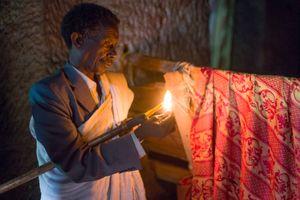 Church lighting, Medhane Alem Adi Kasho Rock-Hewn church, Teka Tesfai, Tigray, Ethiopia