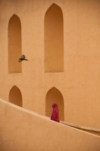 Jaipur, India:. The woman is cleaning the stairway of the observation tower of the large sundial at the Jantar Mantar observatory. © Matjaz Krivic