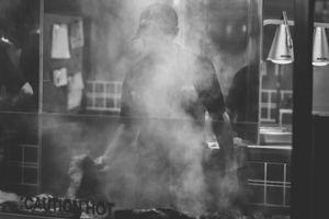 Man behind the smoke curtain