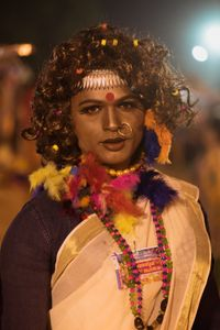 A male devotee dressed up as a woman. Kotakulangara Temple, Kerala, India 2017