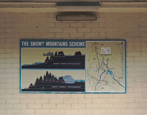 An old Snowy Hydro Scheme diagram in the village of Adaminaby.