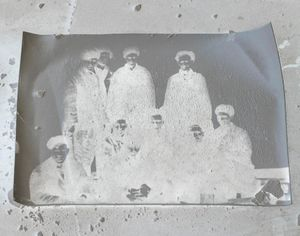 Old photographs of coal miners found in the abandoned buildings in Pyramiden.