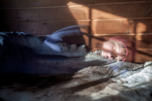 hunters cabin with reindeer skin- the usual bad cover in Lapland