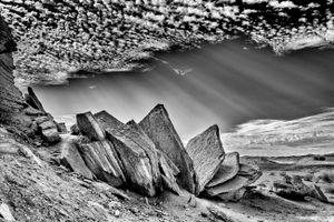 Rays of first light in the desert