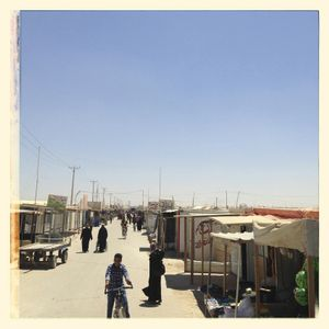 View of the central market street in Za'atari.