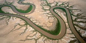 """Forest River, Kimberley, Western Australia, Australia. A tidal river system, north-west of Wyndham, from the series """"Abstract Earth"""" © Richard Woldendorp"""
