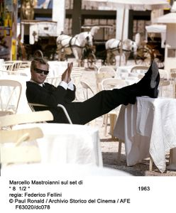 Marcello Mastroianni, Fellini 8 1/2. Courtesy of Paul Ronald, Archivio Storico del Cinema, AFE.
