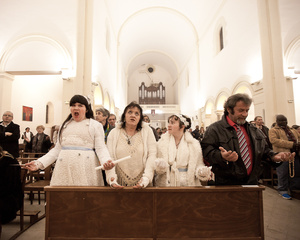 Maddelena, Françoise, her mother,  Ilona, her sister, and Thierry, her father,  in Saint Cléophas church of Montpellier, during their first communion ceremony.