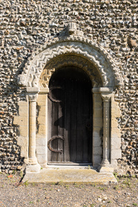 Romanesque detailing on a door of St. Mary the Virgin, Gissing