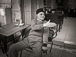 90 year old man who likes to shake hands, Jerusalem, Israel
