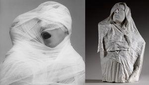 (left) White Gauze, 1984 © Robert Mapplethorpe Foundation. Used by permission. (right) Torse de l'Age d'airain drape, vers 1895 © Paris, musee Rodin