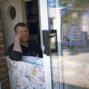 Paul Robinson, Fathers' Rights Protester. At home, Southhampton. UK.27 May 2004.