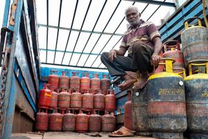 Gas Delivery truck, and worker, Dharavi