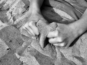 heart-shaped sand