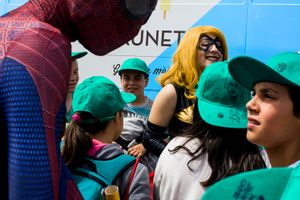 Kids can´t believe they are between their comic heroes. Barcelona. 2016