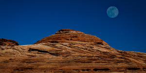 Full Moon over Rock Formation