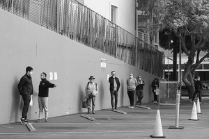 The wall - the new normal -Queuing at Whole Foods - April 2020