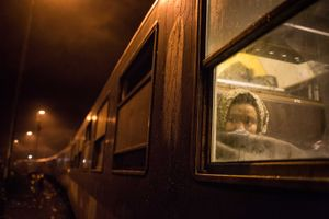 October 2015, Zakany, hungary. The last train with refugees departs from the Croatian Hungarian border towards Austria. Just after this Hungary closed its border with a fence.