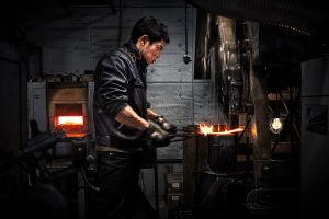 """Forging places are usually small & intimate, sometimes just big enough to fit in the """"artist and the canvas""""."""