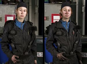 Mija, chimney sweep  0700 and 1500. From the series Women at Work, 2009 © Joel Gräfnings