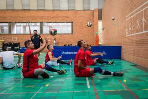 Jonathan Fontes, 35, trains passing against a wall with his team mates during a training session at the High Performance Complex, Bogotá, June 2016.