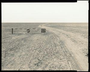 "© Radek Skrivanek, Gate with a sign: ""Caution wild animals"", near Barsakelmesh Island, Aral Sea"