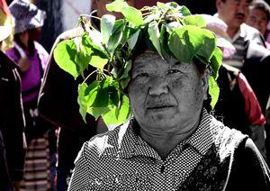 Old pilgrim woman in Lhasa, Tibet.