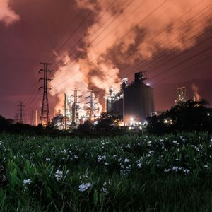 A night view of an industrial complex on a flowery meadow.