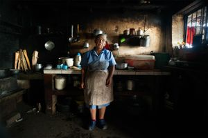 Grandmother in her wood stove