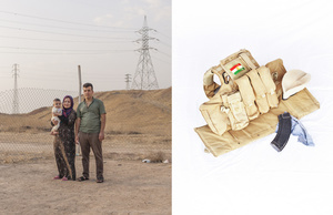 A portrait of Youssef, 24, and Zeinab, 21, with their 6 month old son Yacub. The portrait has been paired with the Peshmerga flak jacket that Youssef took with him when leaving his hometown. 24/05/15.