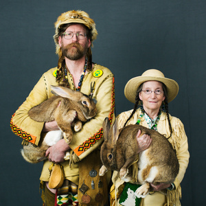 Daniel Hathaway (54) and Susan Hathaway (58) from Bandon, Oregon with their rabbits Defiance and Enterprise of «Flemish giant» breed.