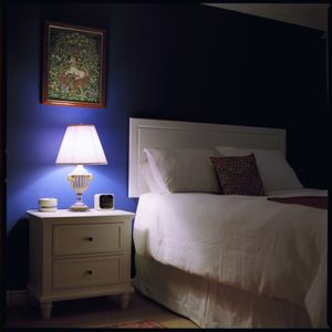 Blue bedroom.