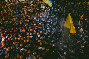 Peaceful opposition between protesters and riot police lasted all night. Hard power wasn't applied by any of the parties. Kiev, Dec. 11, 2014.