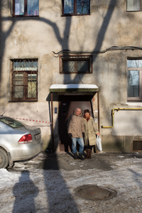 My parents and I outside our old building.