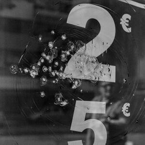 Bullets on a window shop