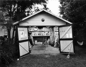 """Garage Interiors"" installation (garage at twilight), Madison, WI, June 1983"