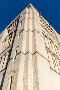 Norwich Castle façade, re-faced in a manner closely resembling the original Caen sandstone