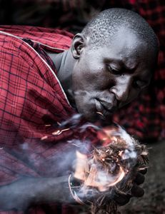 Masai Warrior Making Fire