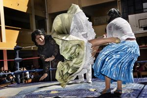 2nd Prize Arts and Entertainment Stories © Daniele Tamagni, Italy. The Flying Cholitas, Bolivia: Lucha libre (Bolivian wrestling) is one of the most popular sports in the country. Women wrestlers are known as cholitas and have become popular in the sport. Here, Carmen Rosa and Yulia la Pacena perform in a benefit show to raise money for the bathrooms of a school in La Paz, Bolivia, 26 June.