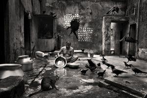 Bimol Da preparing fish for cooking at Beauty Boarding. Shirish Das Lane, 2011. © Munem Wasif