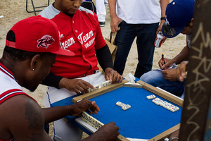 Throughout the day many games are played and some prefer distracted playing dominoes.