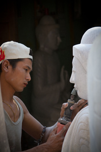 Stone Carver. Mandalay, Myanmar (Burma)