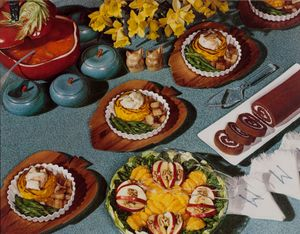 """Nickolas Muray, Food Spread, Daffodils, McCall's magazine, ca. 1946; from """"Feast for the Eyes"""" (Aperture, 2017). © Nickolas Muray Photo Archives. Courtesy George Eastman Museum, gift of Mrs. Nickolas Muray"""