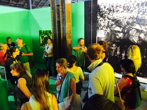 Guided tour with Fannie Escoulen and Julián Barón on the 'Visual Regime' installation. Arles, July 2015