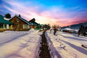 Sunset on snowscape