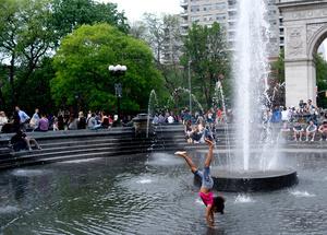 Playtime at the fountain - Washington sq park, Manhattan