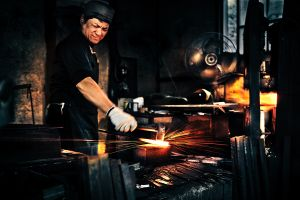Hand forging the high carbon steel is no place for sissies.