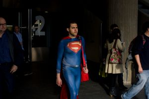 Superman with a red bag. Barcelona. 2016