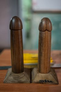 These wooden phalli are used by the trainers, who work for The Humsafar Trust, to demonstrate the correct way to put on a condom .  © Alison McCauley